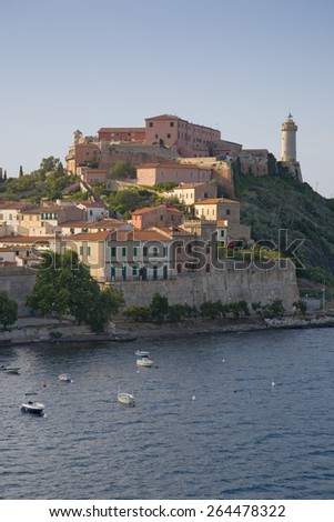 Water view of Portoferraio, Province of Livorno, on the island of Elba in the Tuscan Archipelago of Italy, Europe, where Napoleon Bonaparte was exiled in 1814