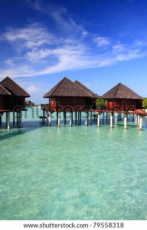 water villa in beautiful maldives, olhuveli - stock photo