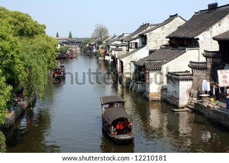 Water village in China, Suzhou - stock photo
