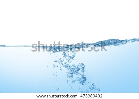 water,water splash isolated on blue background,beautiful splashes a clean water