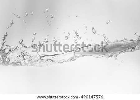 Water,water splash isolated on white background, Water splash with bubbles of air,