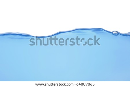 Water wave in front view isolated on white background - stock photo