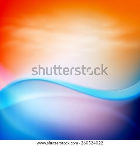Water wave in sunset time - stock photo