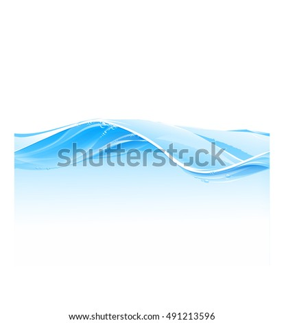 Water wave transparent surface with bubbles, looped seamless illustration