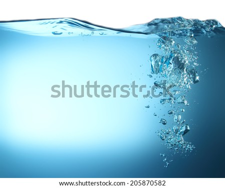 Water wave with bubble - stock photo