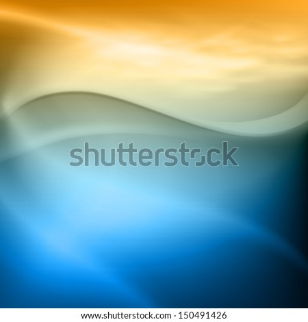 Water wave with bubbles in sunset time. Raster version. - stock photo