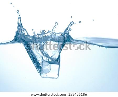 Water wave with ice splash  - stock photo