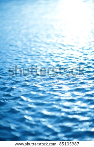 Water Waves Background - Blue Tones Water Surface. Vertical Photography.