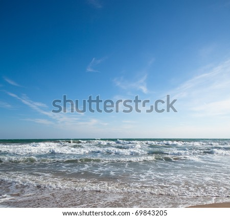 water waves near the coastline, extreme closeup - stock photo