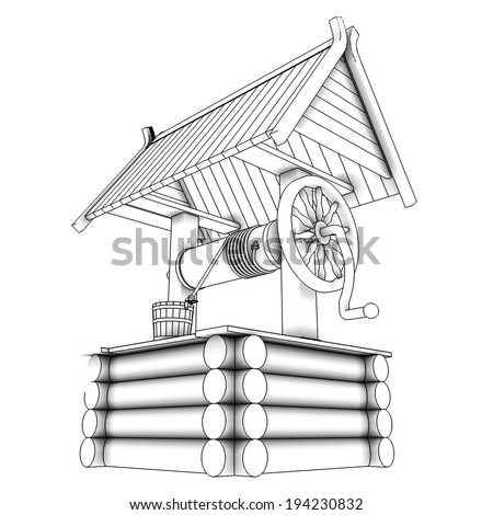 Water Well. Concept. isolated white background. 3d - stock photo