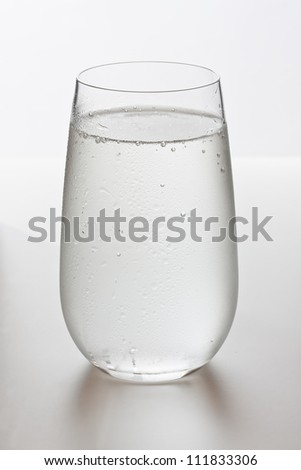 Water with bubbles in glass