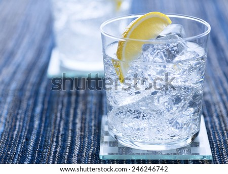 water with ice cubes - stock photo