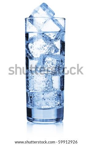 Water with ice cubes. Isolated on white - stock photo