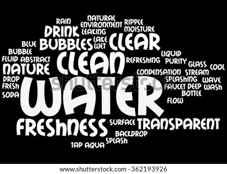 Water, word cloud concept on black background.