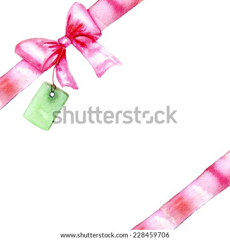 watercolor a red bow on a white background for the text - stock photo