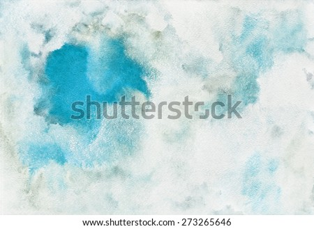 Watercolor abstract background. A piece of heaven surrounded by clouds. Blue sky, shades of white. Painted backdrop with space for text. Fresco imitation. Raster version. - stock photo