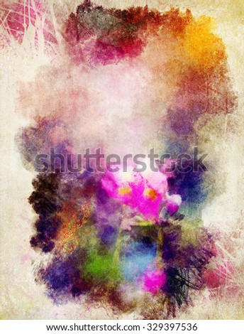 Watercolor abstract background with flower pattern - stock photo