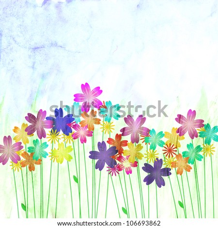 watercolor abstract flowers colorful and green grass and blue sky - stock photo