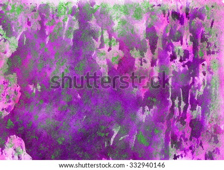 Watercolor abstract grunge pink and purple background with green spots. Template for scrapbooking