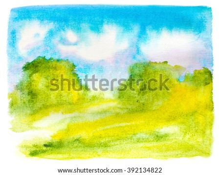 watercolor abstract landscape with sky clouds, trees and grass. raster - stock photo