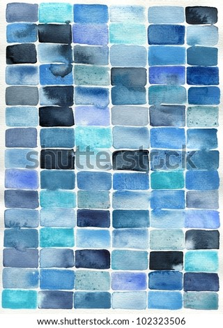 watercolor abstract painting of rectangle shapes, suitable for use as a textured background - stock photo