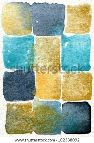 Watercolor abstract painting with blue and cream square shapes suitable for use as a textured background - stock photo