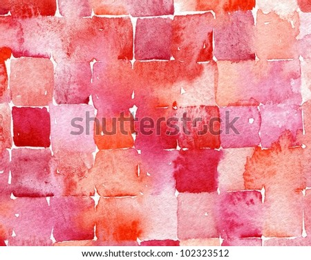 watercolor abstract squares painting suitable for use as a textured background - stock photo