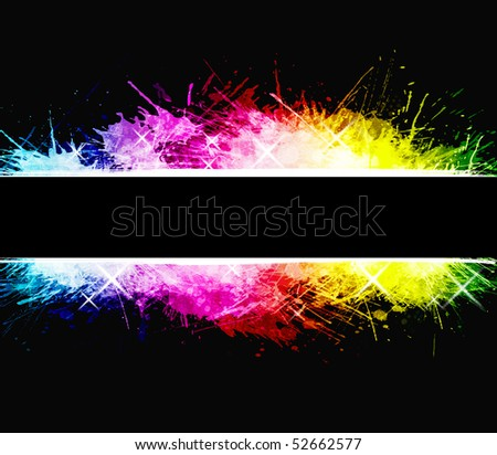 Watercolor aged background with detailed ink splatters. Shiny rainbow colors with celebration stars. Central stripe composition. - stock photo