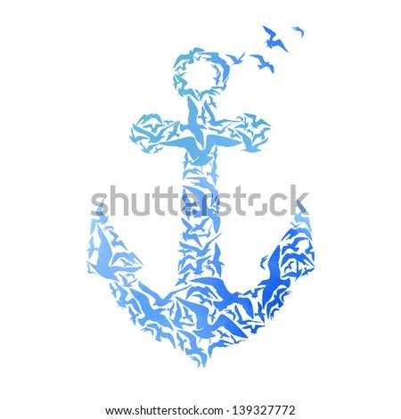 Watercolor Anchor - stock photo