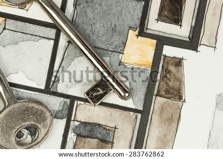 Watercolor and ink freehand sketch drawing of apartment flat floor plan with metal key, symbolizing artistic custom approach to real estate business and design process, as well as lock systems concept - stock photo