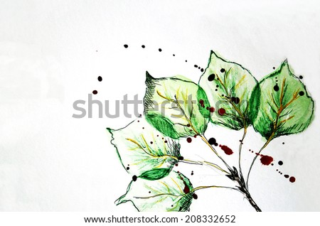 Watercolor and Pencil Drawing of Green Leaves - stock photo