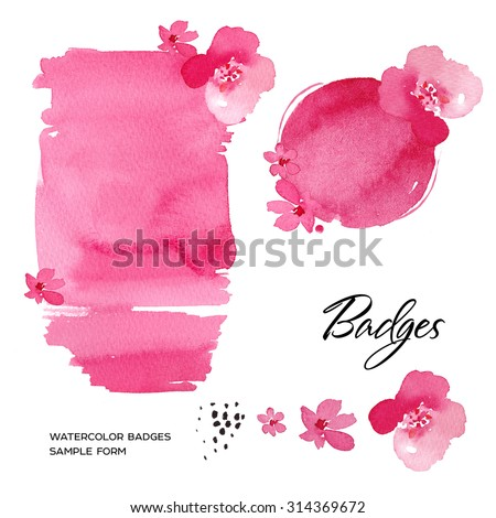 Watercolor art hand paint pink badge isolated on white background. Watercolor stains. - stock photo
