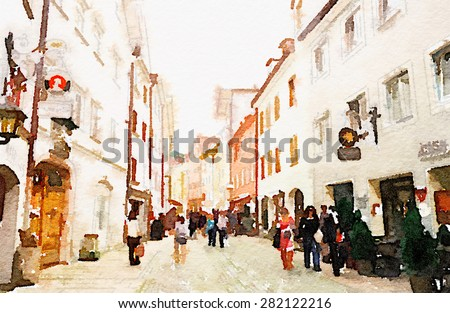Watercolor art painted of city street in europe, Fussen Germany - stock photo