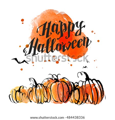 watercolor artistic hand drawn halloween design isolated on white background good for party invitation - Good Halloween Font
