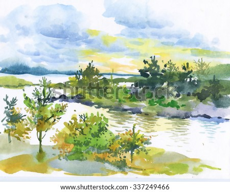 Watercolor autumn forest and lake landscape - stock photo