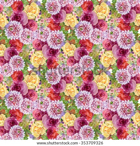 Watercolor Autumn Garden Blooming Flowers Seamless Pattern - stock photo