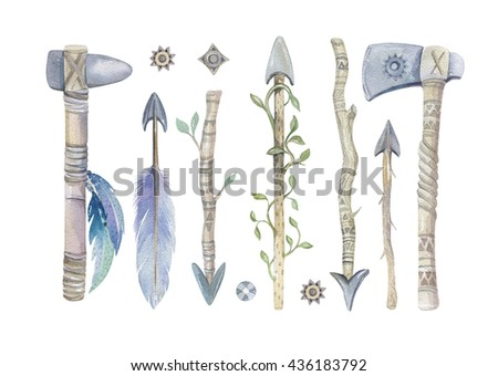 Watercolor aztec boto  arrows set with Hand Painted Leaves and feathers.Watercolour isolated on white background. america tribal eco natural decoration print. Indian weapon, tomahawk