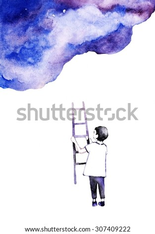 Watercolor background. Colorful abstract texture.Dreaming boy. Watercolor creative concept. Concept - creative person. Creative artist. Imagine. Bubble background. Follow your dreams. - stock photo