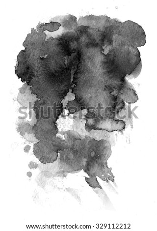 Watercolor background for textures. Abstract watercolor background. Spray paint, ink stains on the paper. Black, monochrome - stock photo