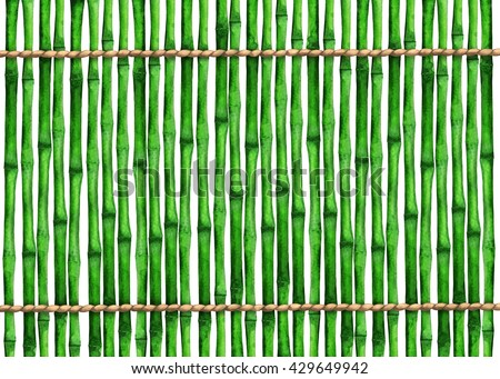 Watercolor background green with bamboo trees, trunks, sticks, ropes. Fence. Hand painting on paper