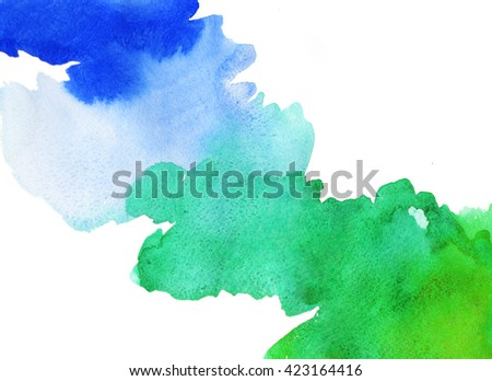 watercolor background in color blue green