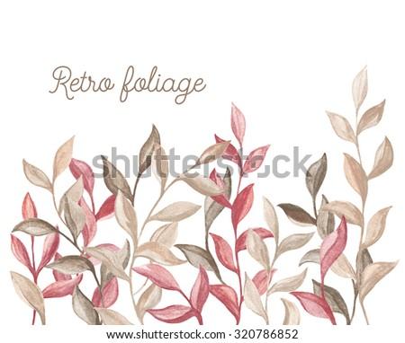 Watercolor background of foliage. Decorative floral background for greeting card or wedding invitation in retro style. - stock photo