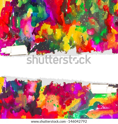 Watercolor background of ink stains with a white stripe for text . Raster