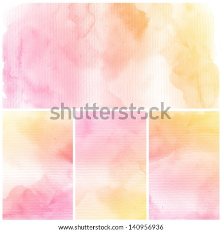 Watercolor Background. Set of colorful Abstract water color art hand paint - stock photo