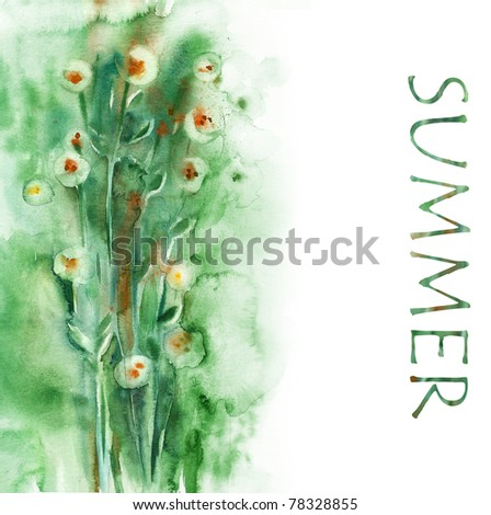 Watercolor background  -Summer-, artist Marina Grau - stock photo