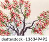 Watercolor background. The bright red flowers and lush green foliage in spring blooming of an old tree - stock photo
