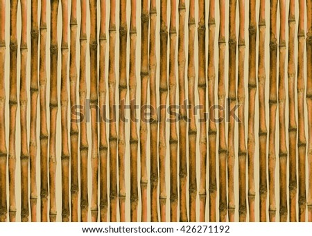 Watercolor background with bamboo trees, trunks, sticks. Hand painting on paper