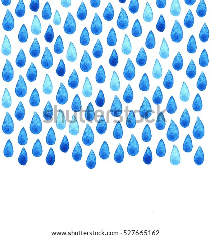 Watercolor Rain Drops Seamless Background Stylized Stock Vector