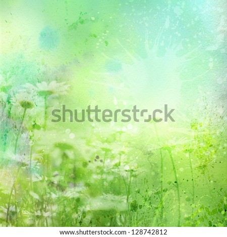 Watercolor background with flowers of chamomile - stock photo