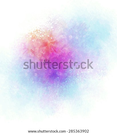Watercolor Background With Splashes And Flower - stock photo